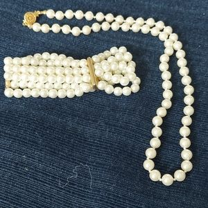 Fashion pearl neclace and bracelet